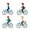 set of man riding bicycle with different actions vector image vector image