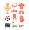 soccer set winners gold cup with ball hand holds vector image vector image