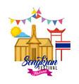 Songkran festival thailand building flag pennant