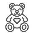 teddy bear line icon animal and child plush toy vector image vector image