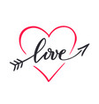 the word love hand drawn lettering love in the vector image vector image