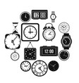 time and clock icons set vector image vector image