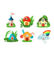 toy fairy houses set mushroom door and windows vector image