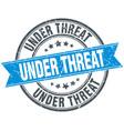 Under threat blue round grunge vintage ribbon vector image