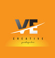 ve v e letter modern logo design with yellow vector image vector image