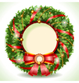 Wreath Christmas with Red Ribbon vector image