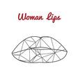 polygonal lips triangle logo or icon vector image
