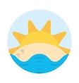 sun sand sea beach badge vector image