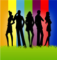 Models on a colorful background vector | Price: 1 Credit (USD $1)