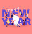2020 new year celebration concept tiny male and vector image vector image