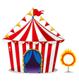 A circus tent beside a ring of fire vector image vector image