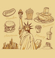 american food statue of liberty manhattan vector image vector image