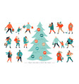 banner for christmas sale people going after vector image vector image