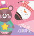 bear and snowman with hat snow merry christmas vector image vector image