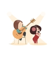 Beautiful woman singing with a microphone and vector image