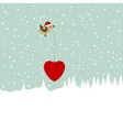 bird bearing christmas heart vector image