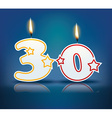 Birthday candle number 30 vector image vector image