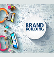 brand building concept with business doodle vector image