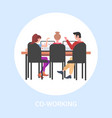 businesspeople sitting at workplace desk vector image