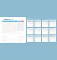 calendar 2019 planner design starts monday vector image vector image