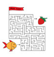 cartoon fish maze game vector image