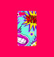 case on the phone with bright picture phone cover vector image vector image
