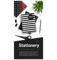 creative scene with black and white stationery vector image vector image