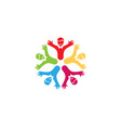 creative unique colorful group of kids logo vector image vector image