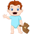 Cute baby holding a teddy bear vector image