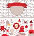 cute sea objects collection Vintage scrap nautical vector image vector image