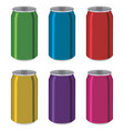 drink tin cans aluminum colorful containers vector image
