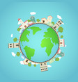 earth planet with city park and fantasy world vector image vector image