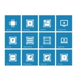 Electronic chip icons on blue background vector image vector image