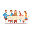 family sitting at kitchen table drinking tea and vector image vector image