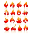Fire flames redish set icons vector