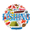 fishing boat rod fish and fisherman equipment vector image vector image