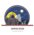flat design of seaside landscape and camping vector image vector image