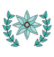 flower emblem with leaves icon imag vector image vector image