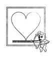 fram with heart and cupid sketch vector image