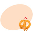 funny soft and crispy german pretzel character vector image vector image