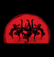 group of people dancing dancer action vector image