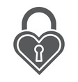 heart shaped lock glyph icon love and locker vector image vector image