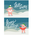 hello winter and happy holidays postcard with pig vector image vector image