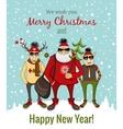 hipster Santa and company vector image