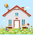 house on garden full of flowers vector image