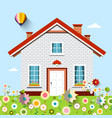 house on garden full of flowers vector image vector image