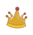 king crown in colored crayon silhouette vector image vector image