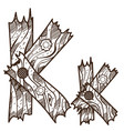 letter k from wooden planks alphabet picture for vector image vector image