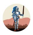 medieval warrior round icon vector image