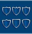 metallic shield badges shiny icons set design vector image vector image